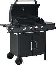 vidaXL Barbecue e Griglia a Gas 4+1 Fornelli Nero