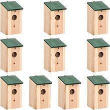 vidaXL Casette per Uccelli 10 pz in Legno Massello