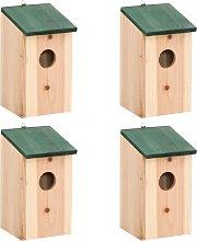 vidaXL Casette per Uccelli 4 pz in Legno 12x12x22
