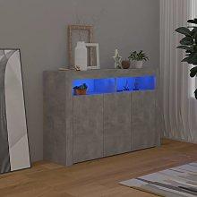 vidaXL Credenza con Luci LED Grigio Cemento