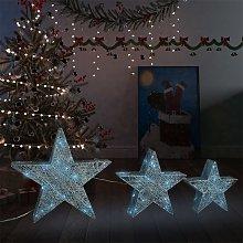 vidaXL Decorazioni di Natale Stelle 3 pz Argento a