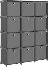 vidaXL Mensola con 12 Scatole a Cubo Grigia