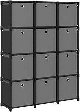vidaXL Mensola con 12 Scatole a Cubo Nera