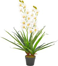 vidaXL Orchidea Artificiale con Vaso Bianca 90 cm