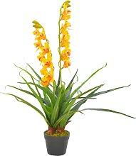 vidaXL Orchidea Artificiale con Vaso Gialla 90 cm