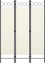 vidaXL Paravento a 3 Pannelli Bianco Crema 120x180