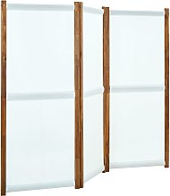 vidaXL Paravento a 3 Pannelli Bianco Crema 210x170