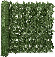 vidaXL Paravento da Balcone con Foglie Verde Scuro