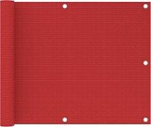 vidaXL Paravento da Balcone Rosso 75x600 cm in HDPE