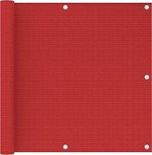 vidaXL Paravento da Balcone Rosso 90x600 cm in HDPE