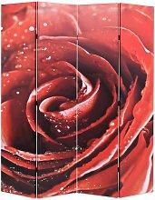 vidaXL Paravento Pieghevole 160x170 cm Stampa Rosa