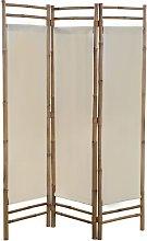 vidaXL Paravento Pieghevole a 3 Pannelli in Bambù