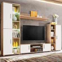 vidaXL Parete Attrezzata Porta TV Luci LED Quercia