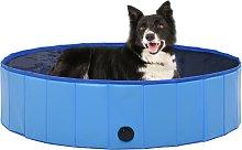 vidaXL Piscina per Cani Pieghevole Blu 120x30 cm