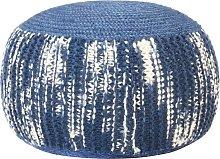 vidaXL Pouf Intrecciato a Mano Blu e Bianco 50x35