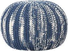 vidaXL Pouf Lavorato a Mano Blu e Bianco 50x35 cm