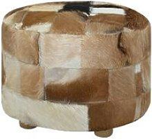 vidaXL Pouf Rotondo in Vera Pelle 50x50x45 cm -