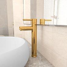 vidaXL Rubinetto Miscelatore da Bagno Oro 12x30 cm