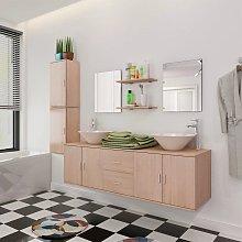 vidaXL Set 11 Mobili per bagno con lavandino con
