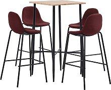 vidaXL Set da Bar 5 pz in Tessuto Rosso Vino