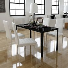 vidaXL Set Tavolo da Pranzo 5 Pezzi Nero e Bianco