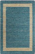vidaXL Tappeto Artigianale in Juta Blu 120x180 cm