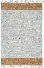 vidaXL Tappeto Chindi Artigianale Pelle 80x160cm