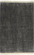 vidaXL Tappeto Kilim in Cotone 200x290 cm Antracite