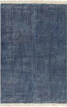 vidaXL Tappeto Kilim in Cotone 200x290 cm Blu