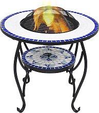 vidaXL Tavolo con Braciere a Mosaico Blu e Bianco