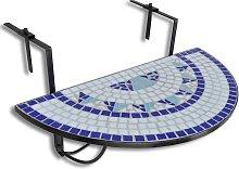 vidaXL Tavolo da Balcone Sospeso Blu e Bianco a