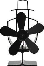 vidaXL Ventilatore per la Stufa con 5 Pale Nero