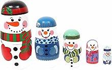 VIDOO Natale Legno 5 Strati Pupazzo di Neve