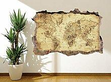 Vintage afflitto World-Map foto adesivo da parete