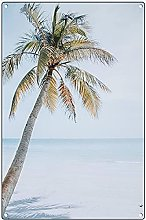 Vintage pittura targa in metallo con palme da
