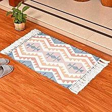 Vintage Tappeto in Cotone Tessuta Lavabile Tappeto