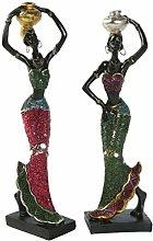 VOSAREA 2 Pezzi Scultura Figura Africana Signora