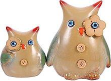 VOSAREA 2Pcs Gufo di Ceramica Figurine Lovely