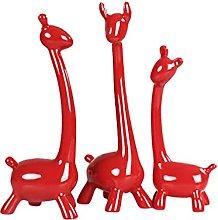 VOSAREA 3Pcs Ceramica Ornamenti Giraffa Statua