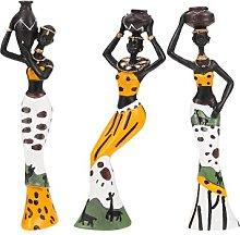 VOSAREA 3Pcs della Ragazza Africana Scultura