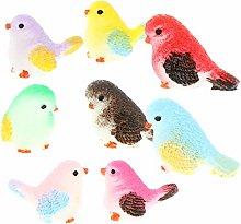 VOSAREA 8Pcs della Resina Uccello Figurine Little