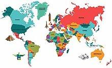 VOSAREA Adesivo Murale Mappa Mondo Adesivo Murale