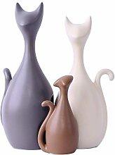 WAA 3 Pezzi Soprammobile Gatto in Ceramica della