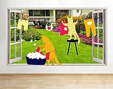 Wall Sticker 3D -- Gatti che lavano i panni per il