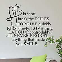 Wall Stickers, Adesivo Murale Frase Life is
