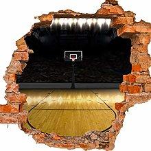 wandmotiv24 Adesivo da Parete 3D Campo da Basket,