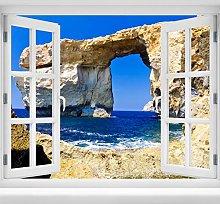 wandmotiv24 Adesivo da Parete 3D Finestra Blu