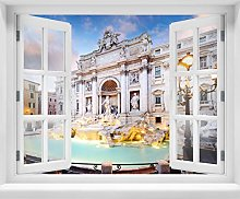 wandmotiv24 Adesivo da Parete 3D Fontana di Trevi,
