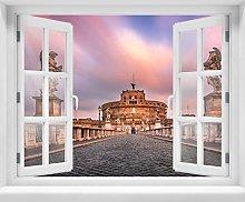 wandmotiv24 Adesivo da Parete 3D Ponte e Castello