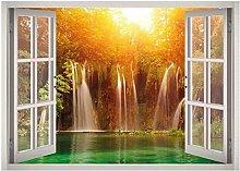 Warm River Panorama Window 3D Decalcomania della